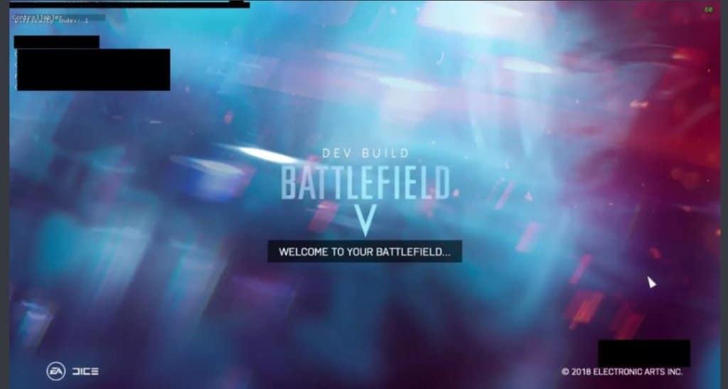 Pantalla de título de Battlefield V filtrada en Reddit.