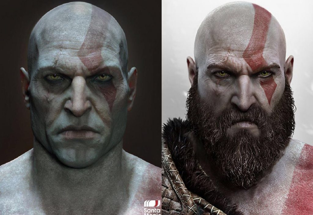 Kratos con y sin barba.